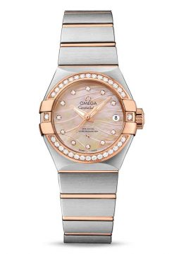 Omega Constellation Co-Axial 18K Red Gold & Stainless Steel & Diamonds Ladies Watch 123.25.27.20.57.003
