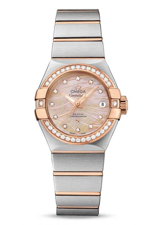 Omega Constellation Co-Axial 18K Red Gold & Stainless Steel & Diamonds Ladies Watch, 123.25.27.20.57.003