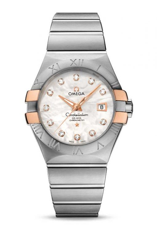 Omega Constellation Co-Axial 18K Red Gold & Stainless Steel & Diamonds Ladies Watch, 123.20.31.20.55.003