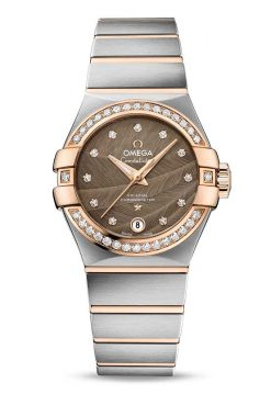Omega Constellation Co-Axial 18K Red gold & Stainless Steel & Diamonds Ladies Watch 123.25.27.20.63.001