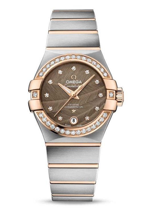 Omega Constellation Co-Axial 18K Red gold & Stainless Steel & Diamonds Ladies Watch, 123.25.27.20.63.001