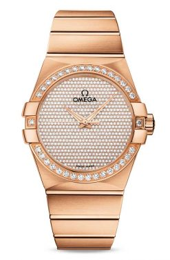 Omega Constellation Co-Axial 18K Red Gold & Diamonds Unisex Watch 123.55.38.20.99.004