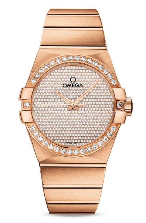 Omega Constellation Co-Axial 18K Red Gold & Diamonds Unisex Watch, 123.55.38.20.99.004