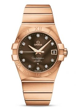 Omega Constellation Co-Axial 18K Red Gold & Diamonds Unisex Watch 123.50.38.21.63.001