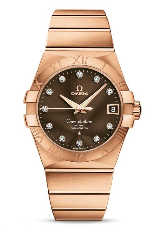 Omega Constellation Co-Axial 18K Red Gold & Diamonds Unisex Watch, 123.50.38.21.63.001