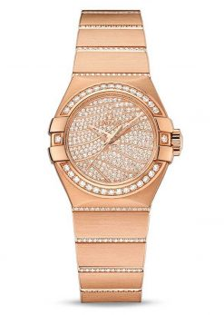 Omega Constellation Co-Axial 18K Red Gold & Diamonds Ladies Watch 123.55.27.20.55.006