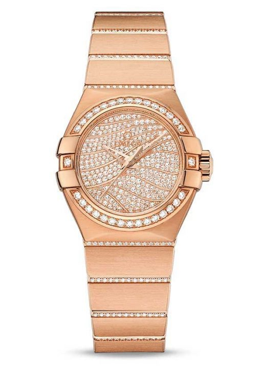 Omega Constellation Co-Axial 18K Red Gold & Diamonds Ladies Watch, 123.55.27.20.55.006