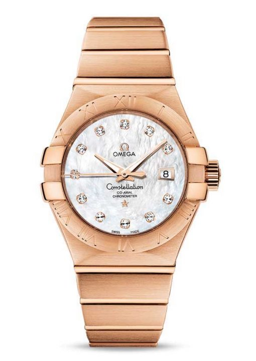 Omega Constellation Co-Axial 18K Red Gold & Diamonds Ladies Watch, 123.50.31.20.55.001
