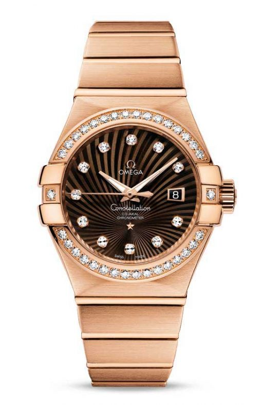 Omega Constellation Co-Axial 18K Red Gold & Diamonds Ladies Watch, 123.55.31.20.63.001