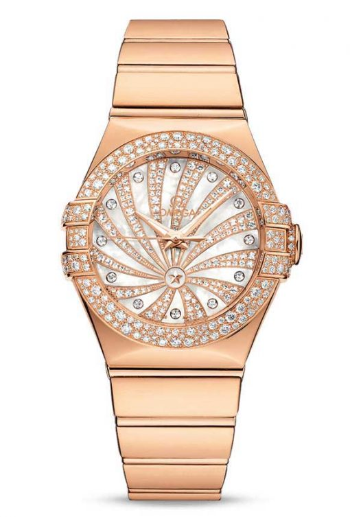 Omega Constellation Co-Axial 18K Red Gold & Diamonds Ladies Watch, 123.55.31.20.55.010