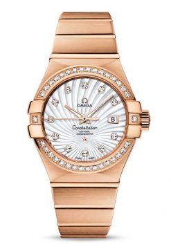 Omega Constellation Co-Axial 18K Red Gold & Diamonds Ladies Watch 123.55.31.20.55.001