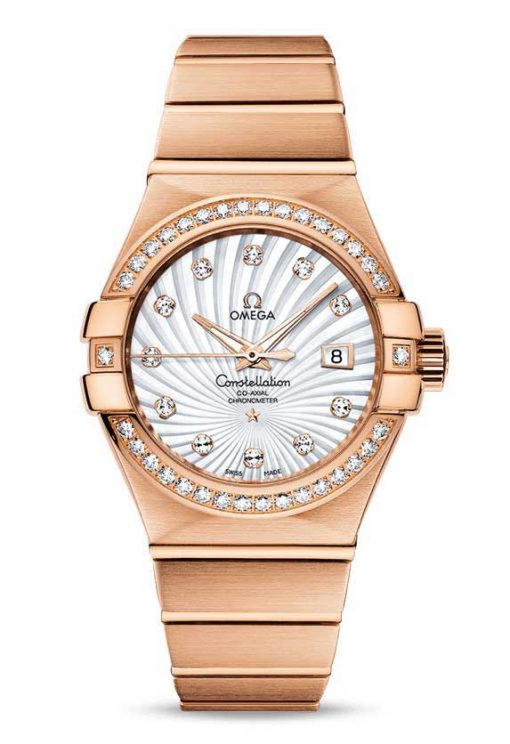 Omega Constellation Co-Axial 18K Red Gold & Diamonds Ladies Watch, 123.55.31.20.55.001