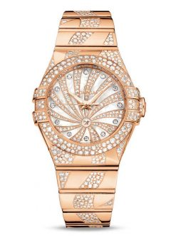 Omega Constellation Co-Axial 18K Red Gold & Diamonds Ladies Watch 123.55.31.20.55.008