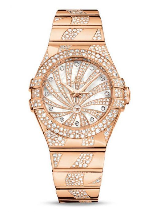 Omega Constellation Co-Axial 18K Red Gold & Diamonds Ladies Watch, 123.55.31.20.55.008