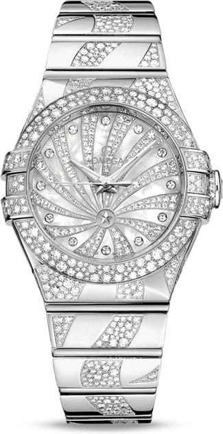 Omega Constellation Co-Axial 18K White Gold & Diamonds Ladies Watch, 123.55.31.20.55.009