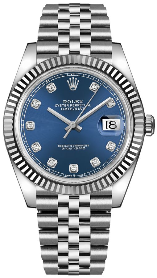 Rolex Oyster Perpetual Datejust 41 Stainless Steel & 18K White Gold & Diamonds Men's Watch, 126334-0016