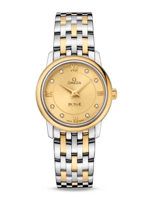Omega De Vile Prestige Stainless Steel & 18K Yellow Gold Ladies Watch, 424.20.27.60.58.001