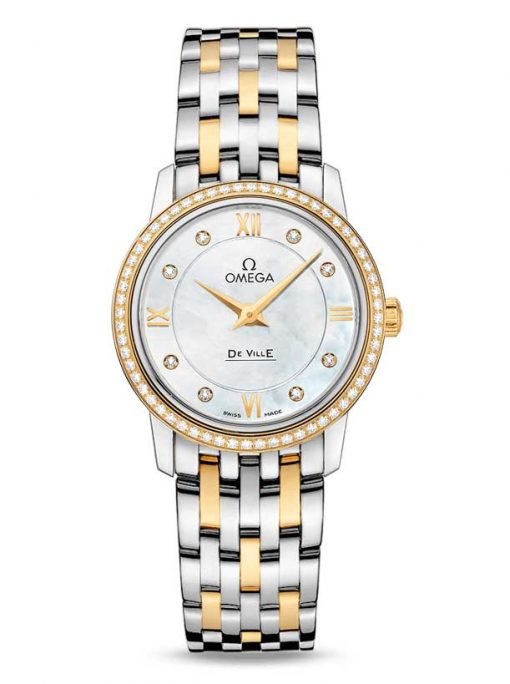 Omega De Vile Prestige Stainless Steel & 18K Yellow Gold & Diamonds Ladies Watch, 424.25.27.60.55.001
