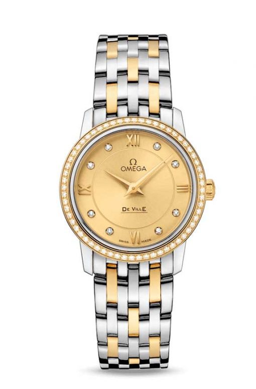 Omega De Vile Prestige Stainless Steel & 18K Yellow Gold & Diamonds Ladies Watch, 424.25.27.60.58.001