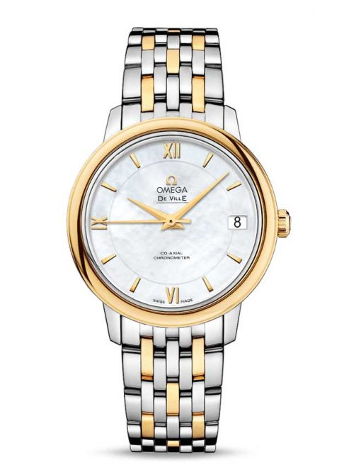 Omega De Vile Prestige Co-Axial Stainless Steel & 18K Yellow Gold Ladies Watch, 424.20.33.20.05.001