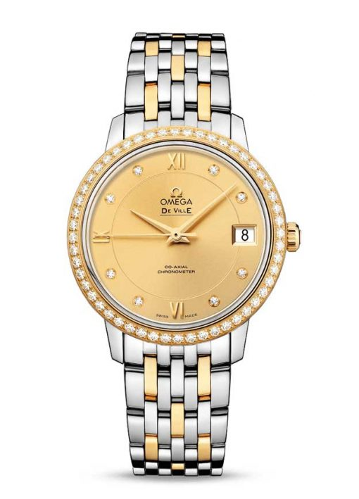 Omega De Vile Prestige Co-Axial Stainless Steel & 18K Yellow Gold & Diamonds Ladies Watch, 424.25.33.20.58.001