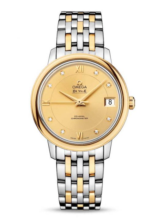 Omega De Vile Prestige Co-Axial Stainless Steel & 18K Yellow Gold & Diamonds Ladies Watch, 424.20.33.20.58.001