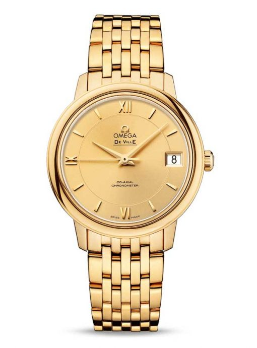 Omega De Vile Prestige Co-Axial 18K Yellow Gold Ladies Watch, 424.50.33.20.08.001
