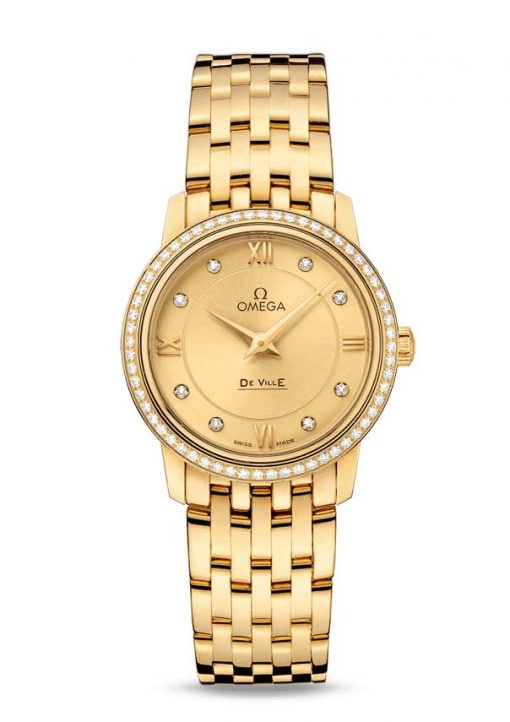Omega De Vile Prestige 18K Yellow Gold & Diamonds Ladies Watch, 424.55.27.60.58.001 2
