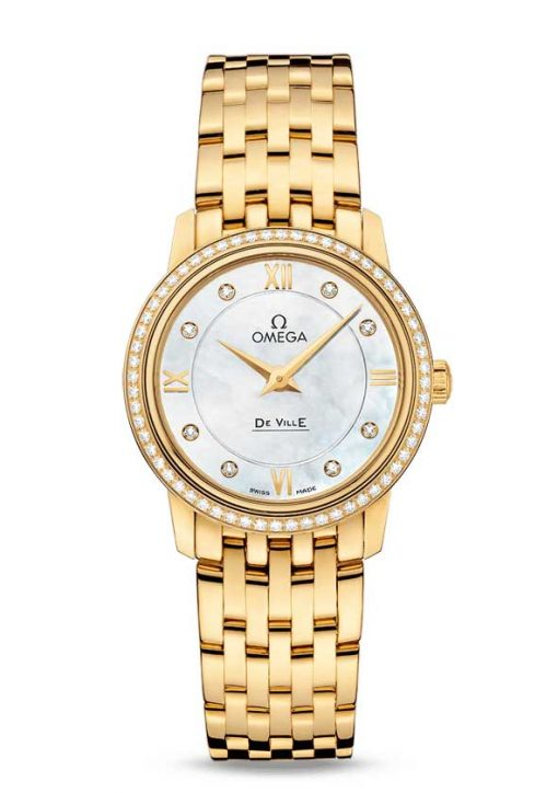 Omega De Vile Prestige 18K Yellow Gold & Diamonds Ladies Watch, 424.55.27.60.55.001