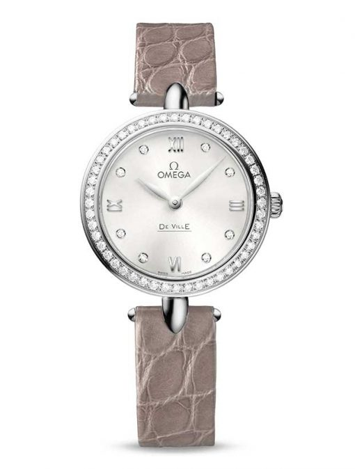 "Omega De Vile Prestige ""Dewdrop"" Stainless Steel & Diamonds Ladies Watch, 424.18.27.60.52.001"