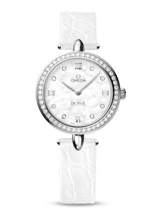 "Omega De Vile Prestige ""Dewdrop"" Stainless Steel & Diamonds Ladies Watch, 424.18.27.60.55.001"