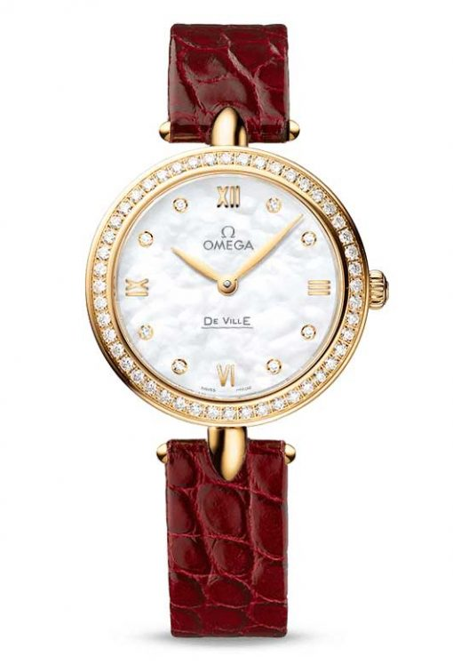 "Omega De Vile Prestige ""Dewdrop"" 18K Yellow Gold & Diamonds Ladies Watch, 424.58.27.60.55.001"