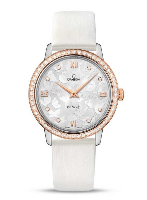 "Omega De Vile Prestige ""Butterfly"" Stainless Steel & 18K Red Gold & Diamonds Ladies Watch, 424.27.33.60.52.001"