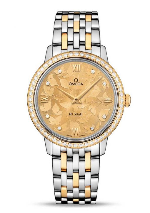 "Omega De Vile Prestige ""Butterfly"" Stainless steel & 18K Yellow gold & Diamonds Ladies Watch, 424.25.33.60.58.001"