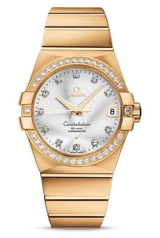 Omega Constellation Co-Axial 18K Yellow Gold & Diamonds Unisex Watch, 123.55.38.21.52.002