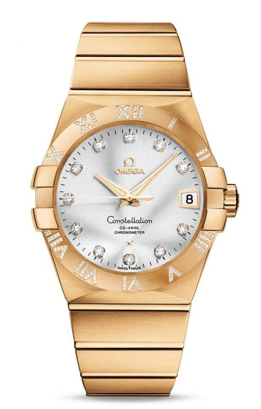 Omega Constellation Co-Axial 18K Yellow Gold & Diamonds Unisex Watch, 123.55.38.21.52.008