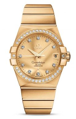 Omega Constellation Co-Axial 18K Yellow Gold & Diamonds Unisex Watch 123.55.38.21.58.001