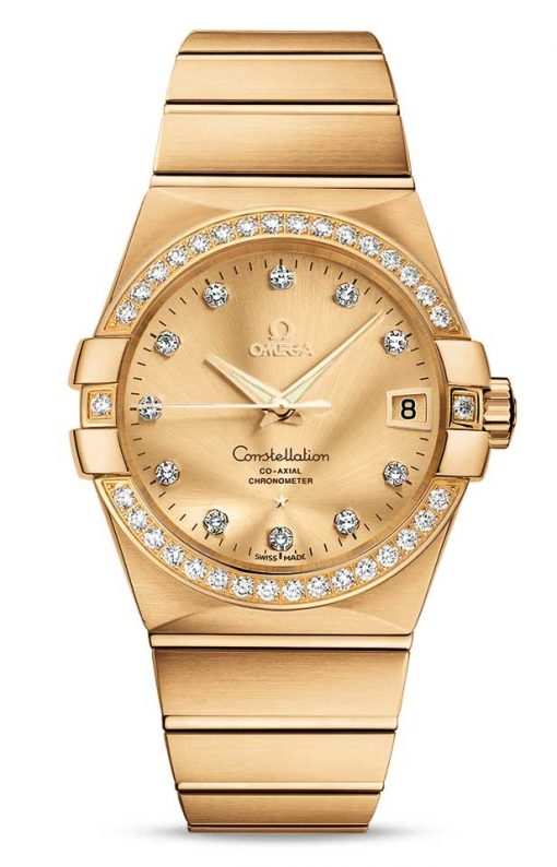 Omega Constellation Co-Axial 18K Yellow Gold & Diamonds Unisex Watch, 123.55.38.21.58.001