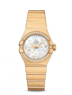 Omega Constellation Co-Axial 18K Yellow Gold & Diamonds Ladies Watch 123.55.27.20.05.001
