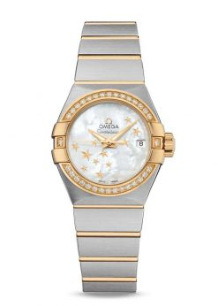 Omega Constellation Co-Axial 18K Yellow Gold & Diamonds & Stainless Steel Ladies Watch 123.25.27.20.05.001