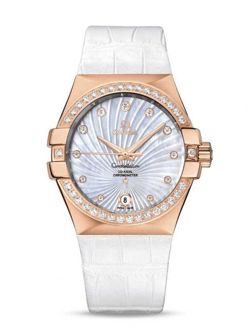 Omega Constellation Co-Axial 18K Red Gold & Diamonds Ladies Watch, 123.58.35.20.55.003