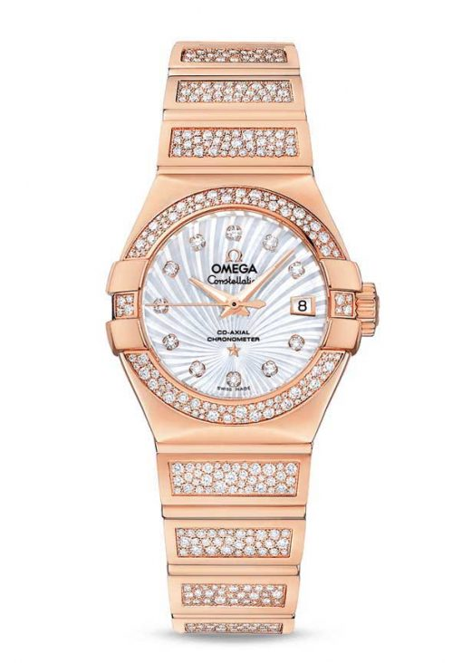 Omega Constellation Co-Axial 18K Red Gold & Diamonds Ladies Watch, 123.55.27.20.55.004