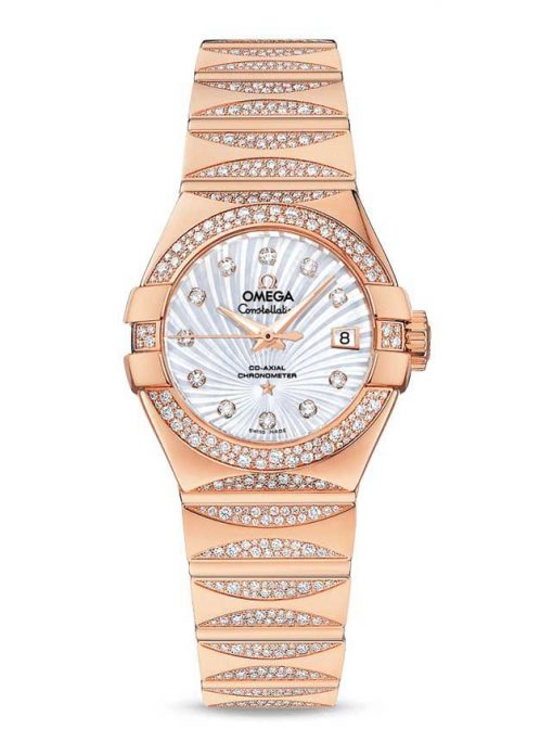 Omega Constellation Co-Axial 18K Red Gold & Diamonds Ladies Watch, 123.55.27.20.55.003