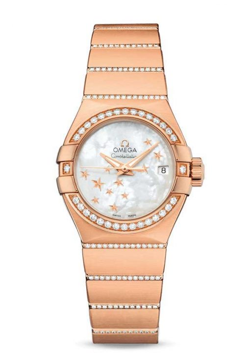 Omega Constellation Co-Axial 18K Red Gold & Diamonds Ladies Watch, 123.55.27.20.05.004
