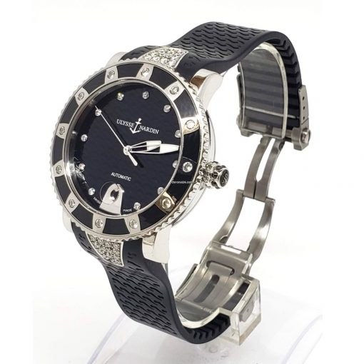 Ulysse Nardin Stainless Steel Diamonds Lady Marine Diver Watch, pre-owned.8103-101e-3c/12 7
