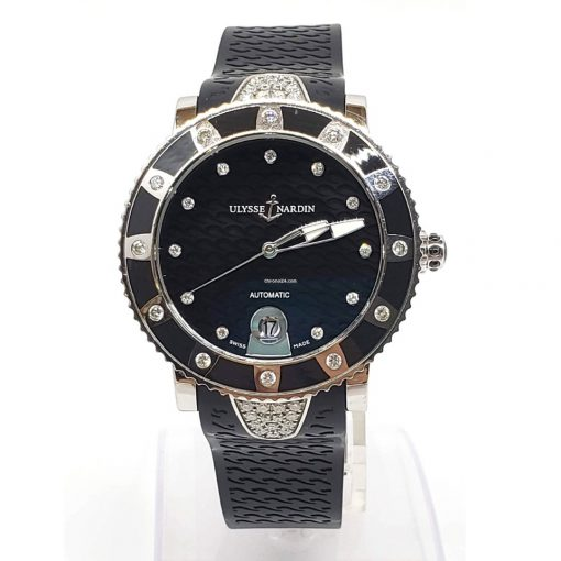Ulysse Nardin Stainless Steel Diamonds Lady Marine Diver Watch, pre-owned.8103-101e-3c/12 4