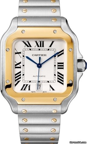 Cartier Santos Stainless Steel & 18K Yellow Gold Men's Watch, W2SA0006