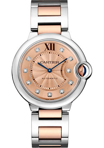 Cartier Ballon Bleu Stainless Steel & 18K Pink Gold Lady's Watch, WE902054