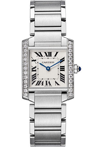 Cartier Tank Francaise Stainless Steel & Diamonds Ladies Watch, W4TA0009
