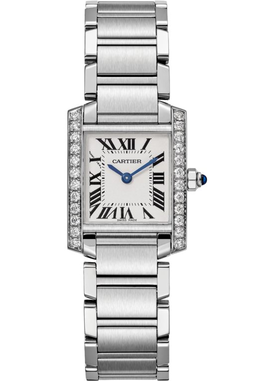 Cartier Tank Francaise Stainless Steel & Diamonds Ladies Watch, W4TA0008
